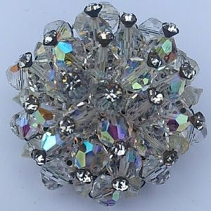'60s VINTAGE Faceted AB Crystal Cluster Brooch Pin